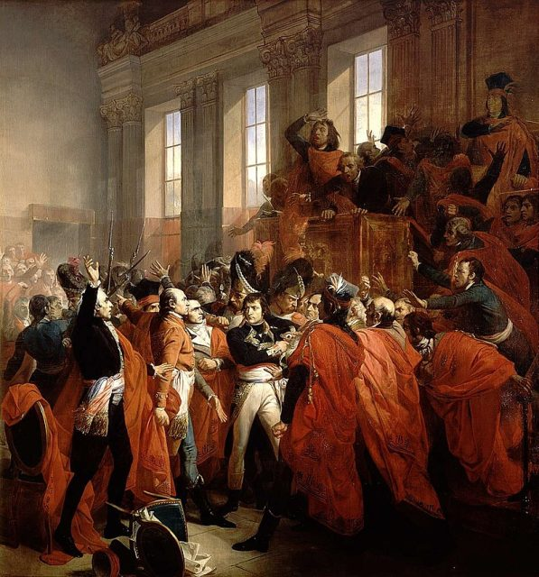 General Bonaparte surrounded by members of the Council of Five Hundred during the Coup of 18 Brumaire, by François Bouchot