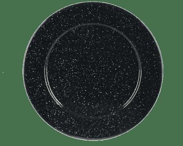 tres grande assiette noire en metal graniteware