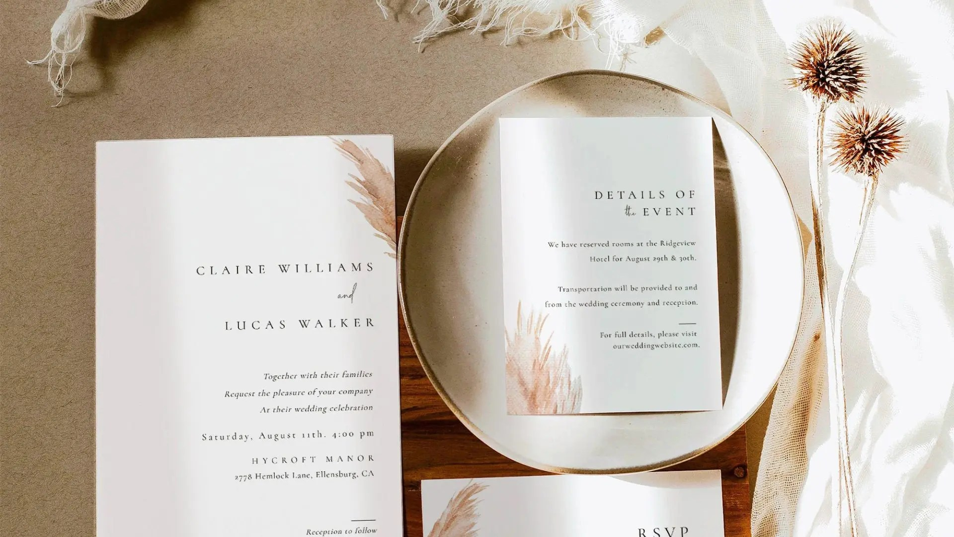Wedding Stationery Warm Karoo