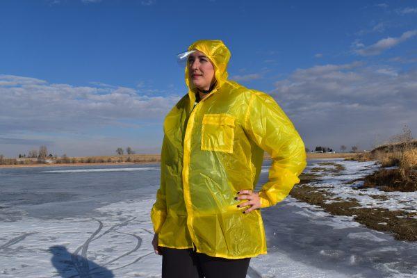 woman in hooded rain coat