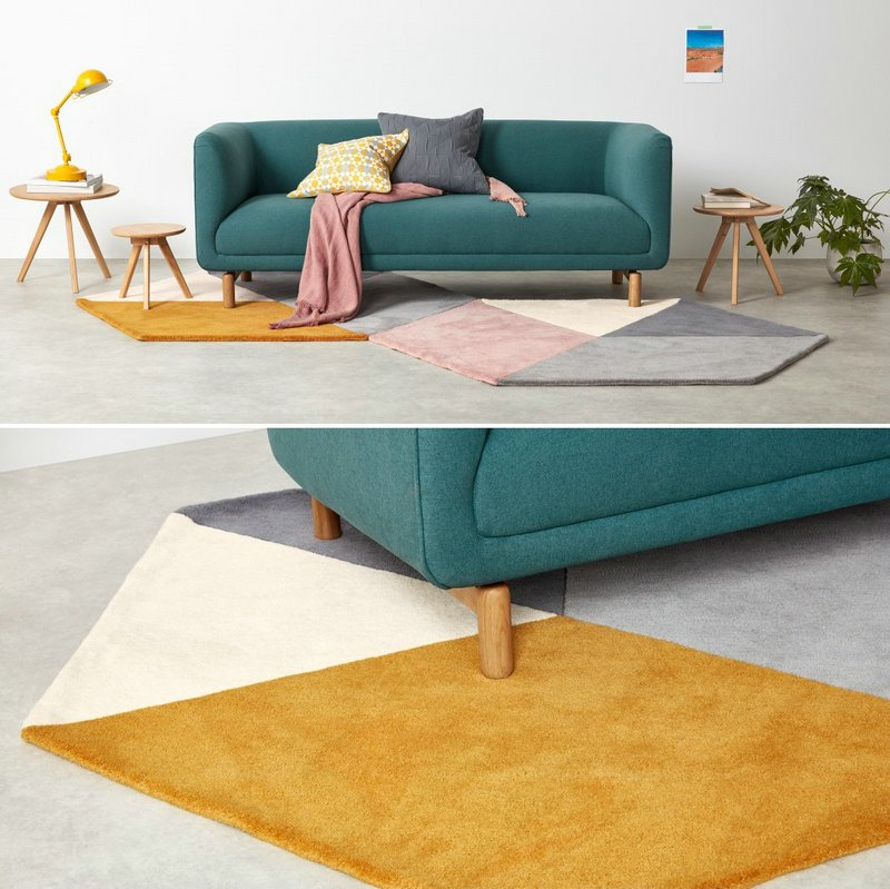 Stitching Color Area Hexagon Round Rugs