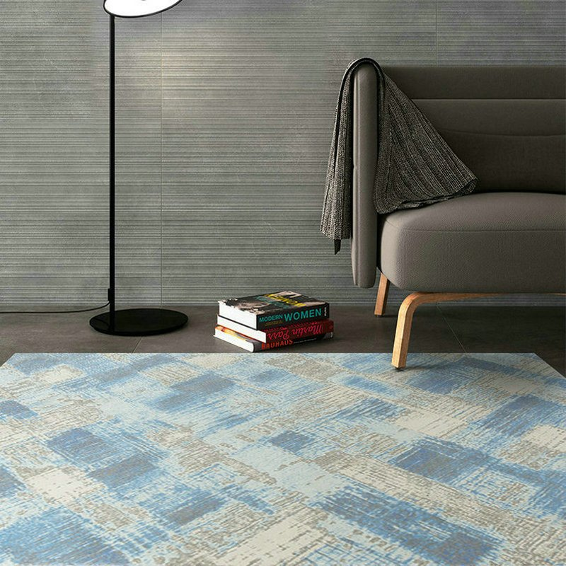 Simplicity Blue Gray Painting Funky Rugs