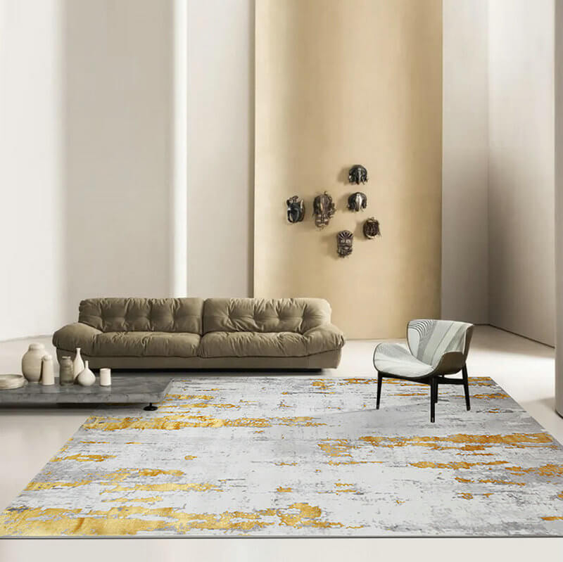 Gold Rug Modern Design Carpet For Living Room Warmly Home