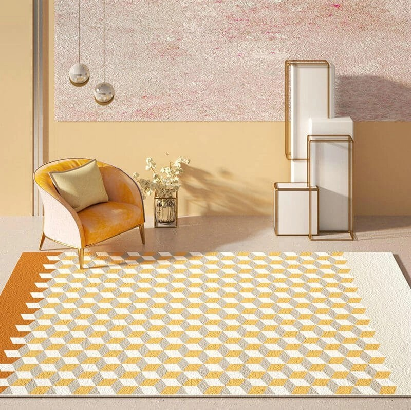 Yellow Cubic Rug