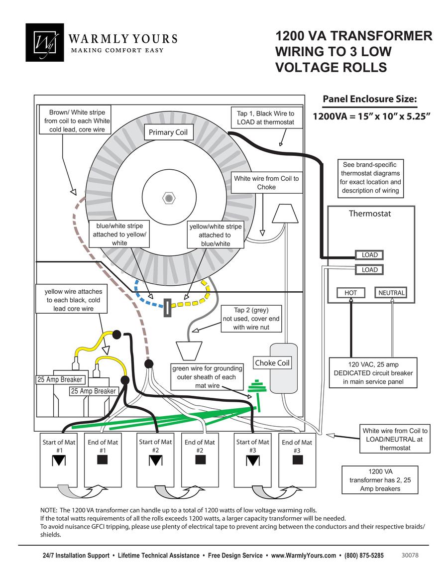 medium resolution of 1200va transformer wiring diagram to 3 tempzone single conductor 24v rolls