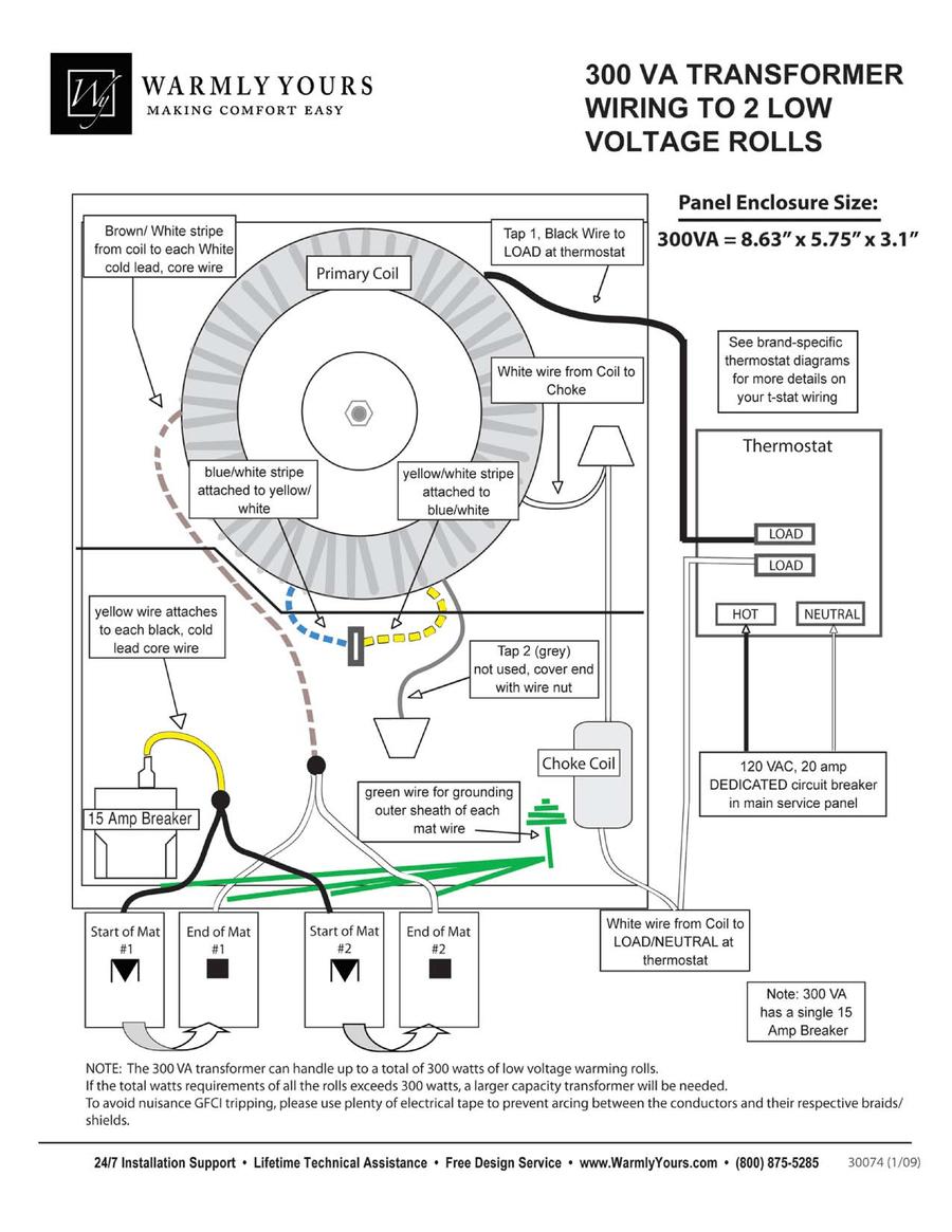 medium resolution of 300va transformer wiring diagram to 2 tempzone single conductor 24v rolls