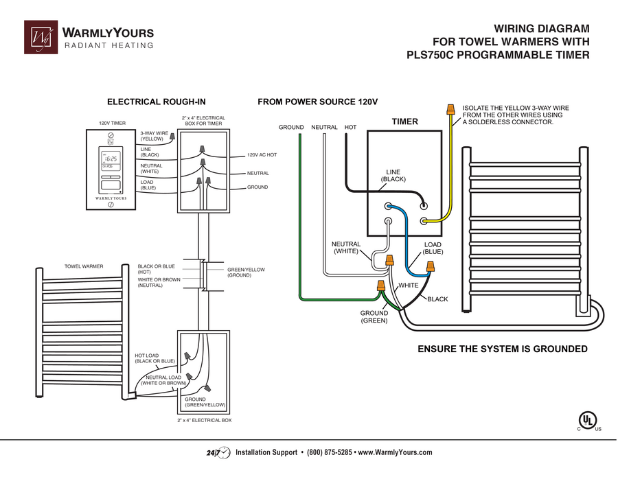 PLS750C Programmable Timer Towel Warmer Wiring Diagram