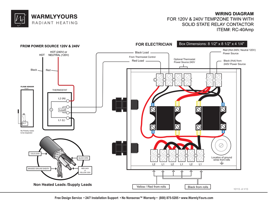 RC-40AMP Relay Wiring Diagram with TempZone™ (Twin)
