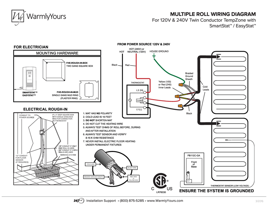 Wiring Diagram for TempZone™ Cut & Turn Twin Conductor