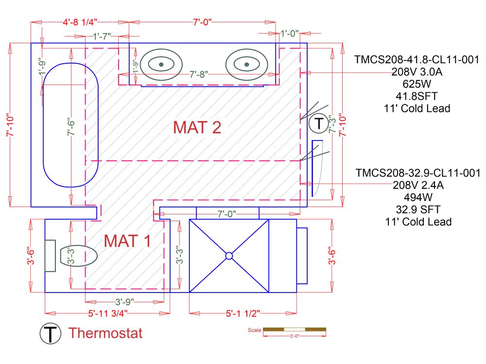 medium resolution of custom radiant floor heating mat for a tile bathroom