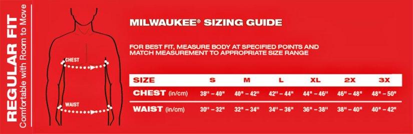 size chart - Milwaukee Heated Hoodie Review