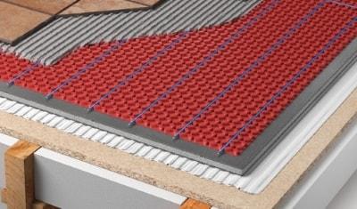 heated tile floor under tile heating