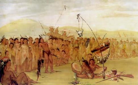 The Sun Dance painted by George Catlin