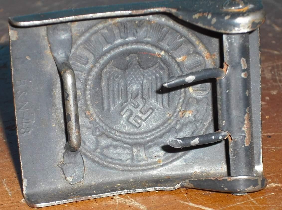 German NAVY black smooth belt buckle