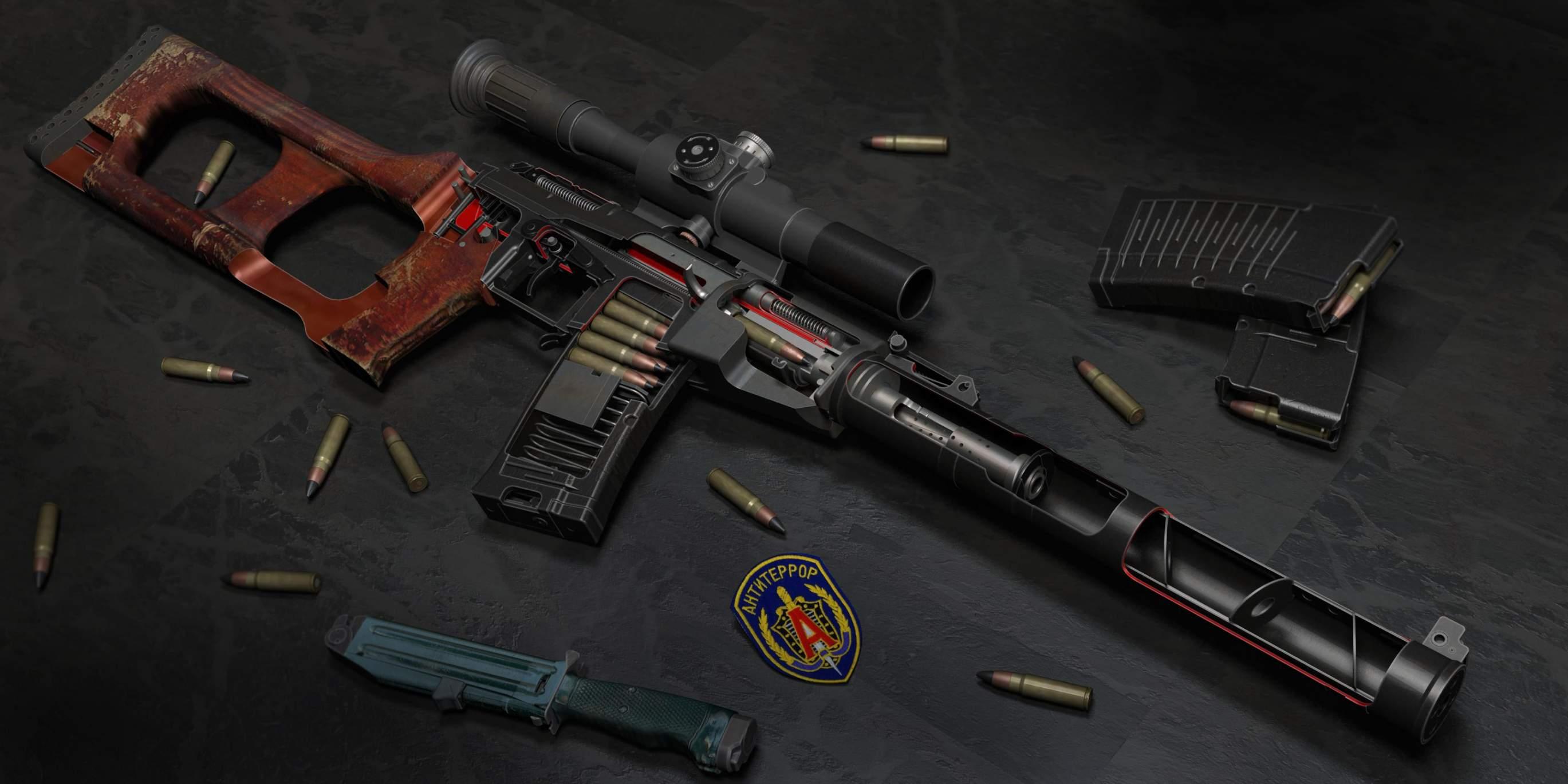 21 9 Pubg Wallpaper 3d Model Weapons Vchk Mvd Gru Fsb