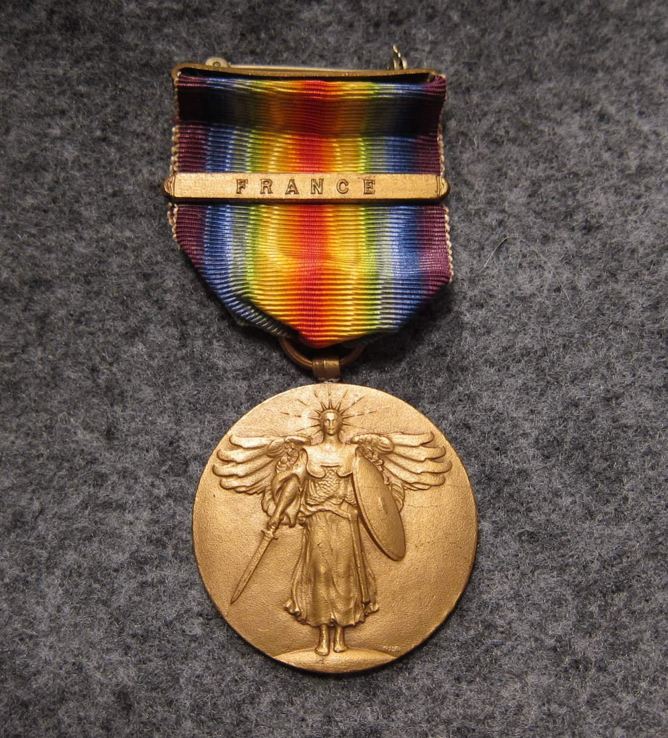 WW1 Victory Medal France Clasp SG Adams Stamp and