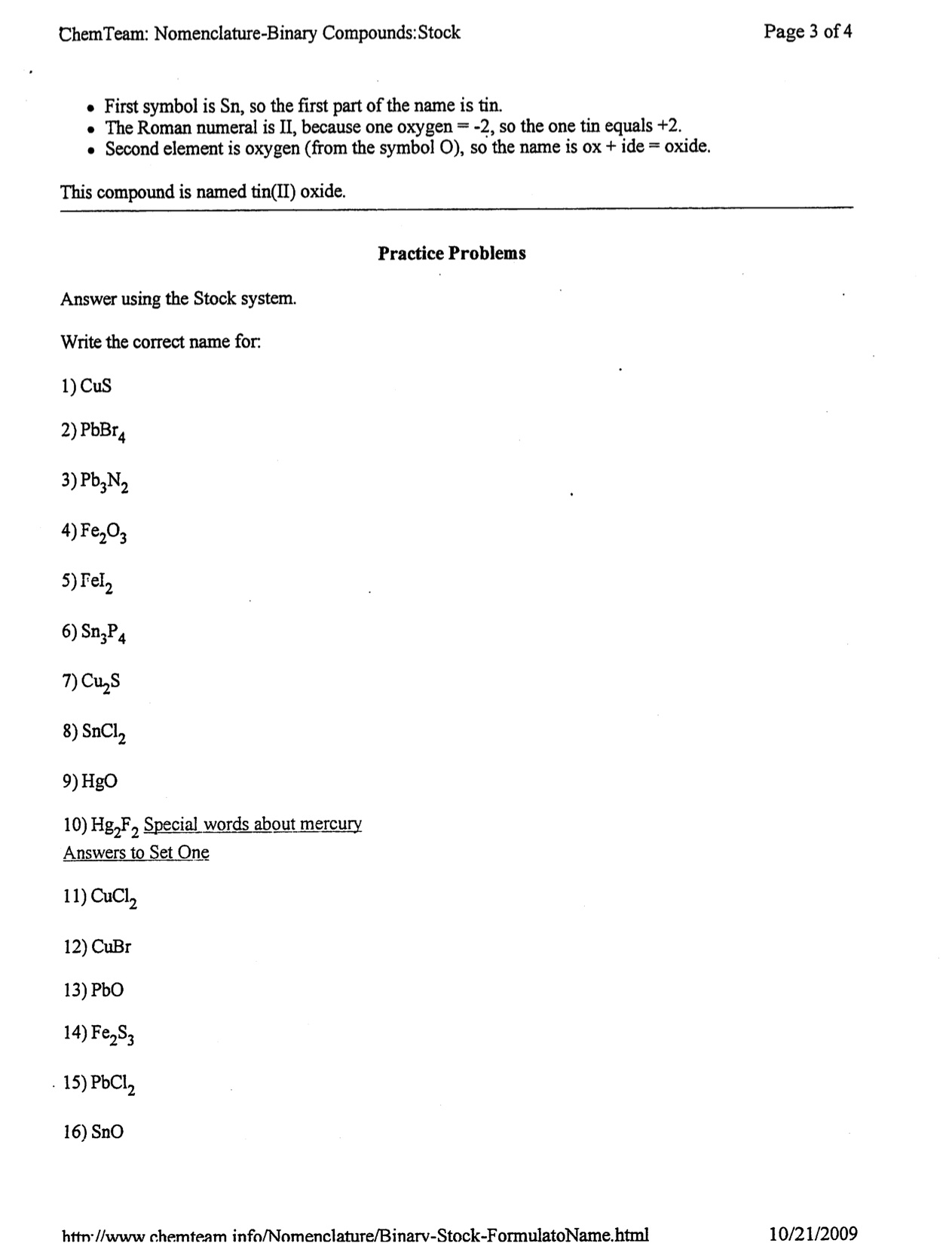 Formulas And Names Of Compounds Worksheet