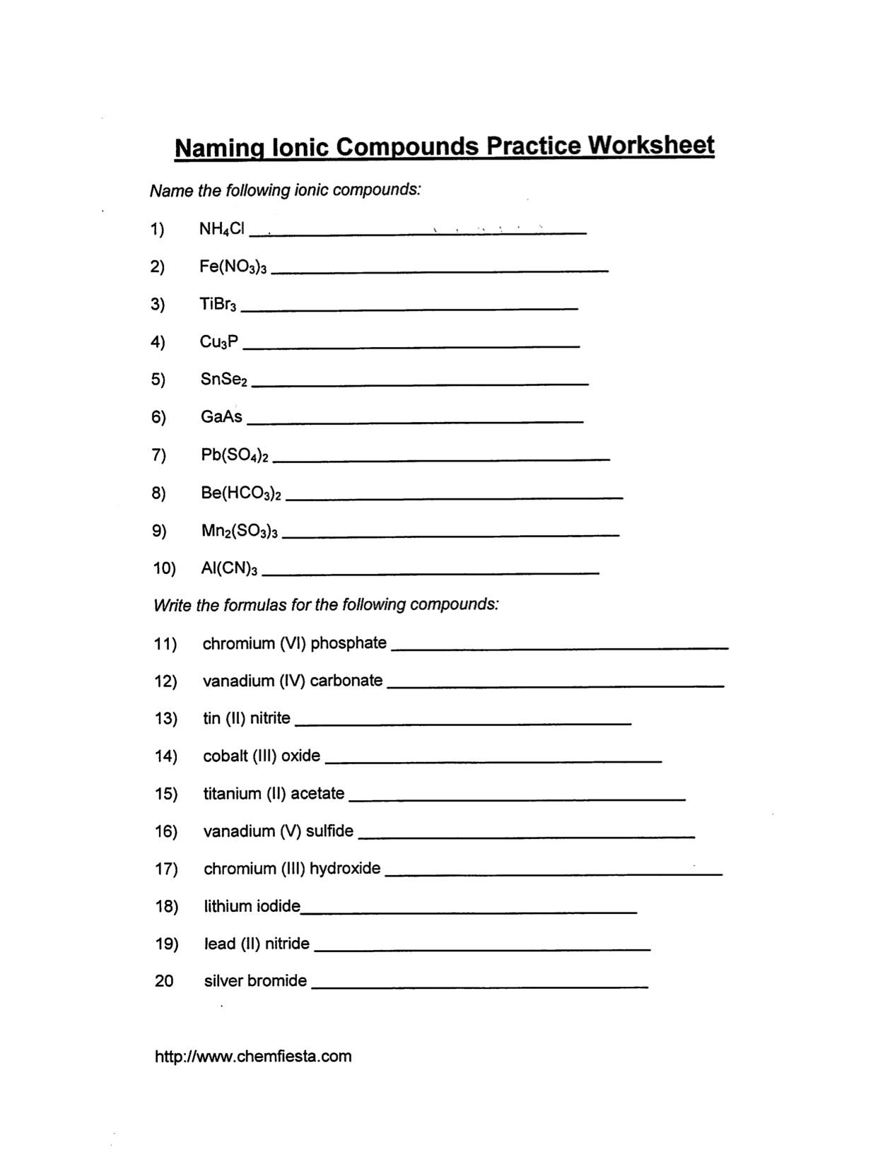 Worksheet Naming Compounds Worksheet Answers Worksheet