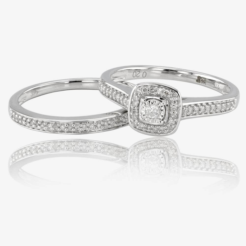 9ct White Gold Diamond Cluster Bridal 2 Ring Set