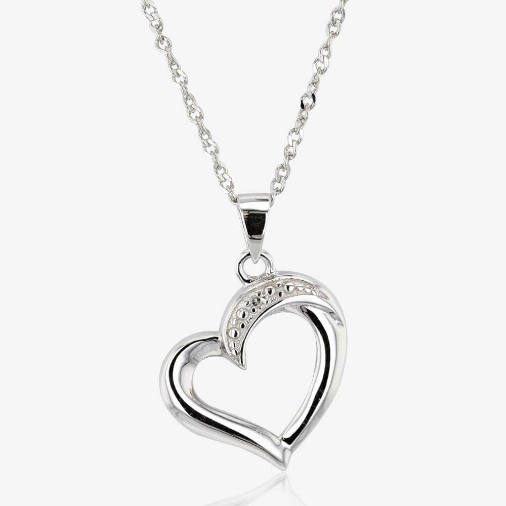 Nevada Sterling Silver Diamond Heart Necklace