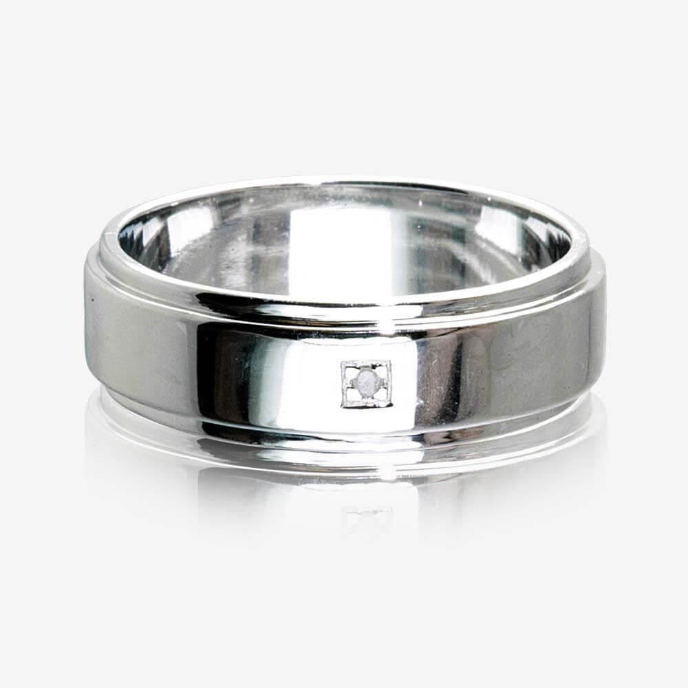 Sterling Silver Diamond Mens Ring