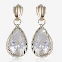 9ct Gold DiamonFlash Cubic Zirconia Drop Earring