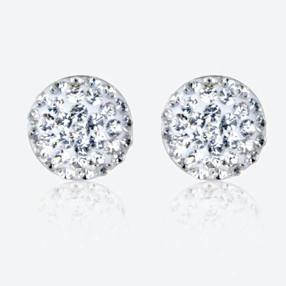 Roxy Sterling Silver Crystal Dome Stud Earrings
