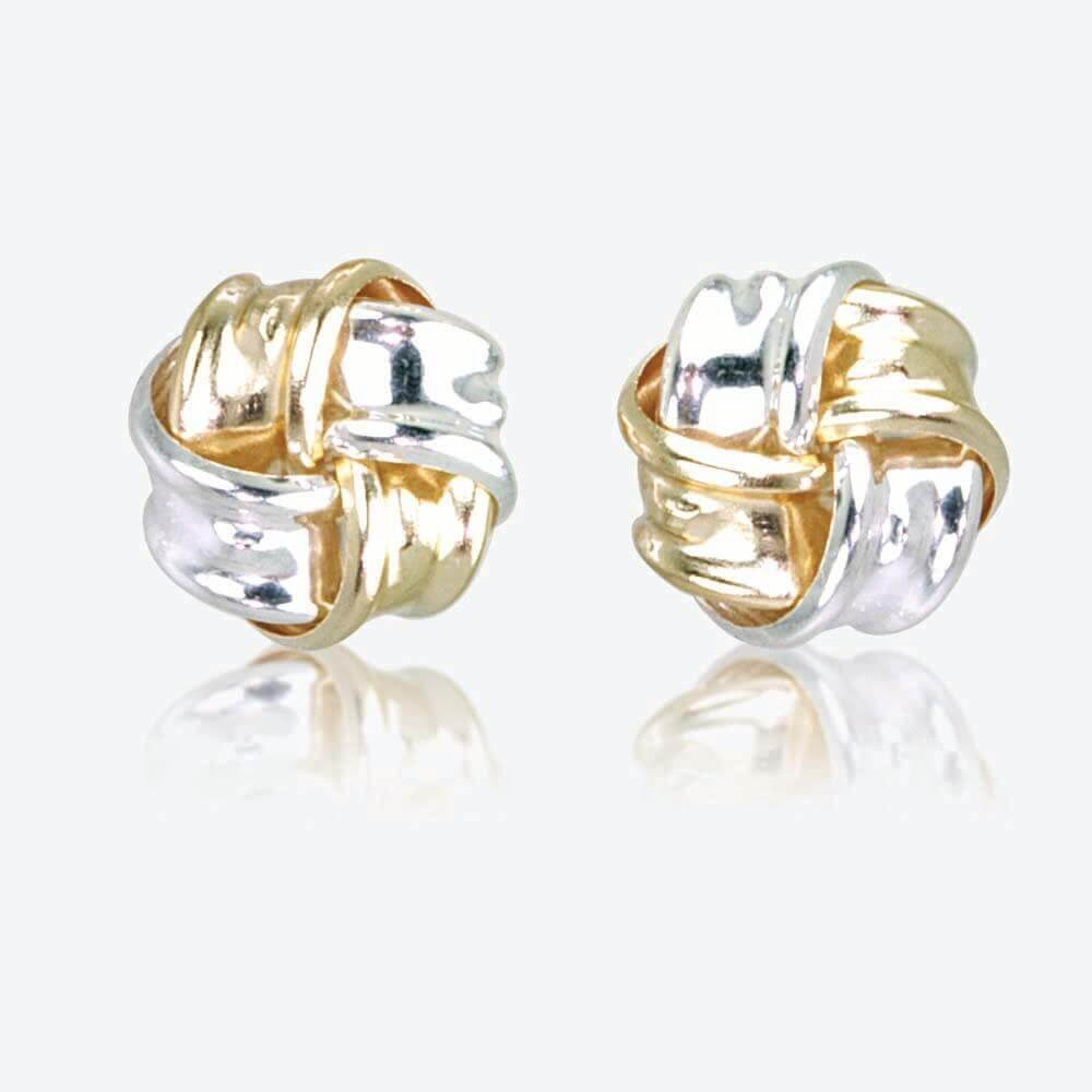 Lois 9ct Gold Amp Silver Knot Stud Earrings