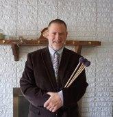 Marimba musician Paul Demick holding mallets
