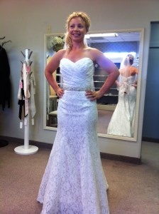In the veils and belt room of Bridal & Formal