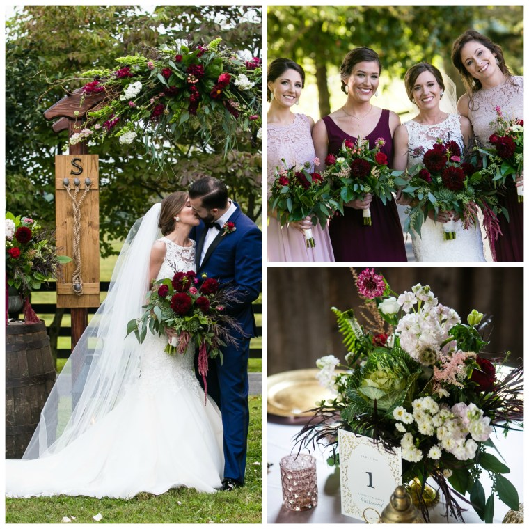 Event Styling: Fall outdoor wedding ceremony and barn reception in merlot, blush and gold. Photographed by Hilly Photography