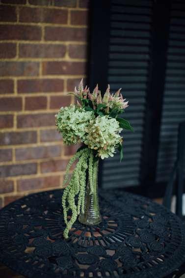 Handpicked garden blooms as bistro table centerpiece
