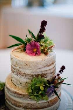 vintage fall naked wedding cake details