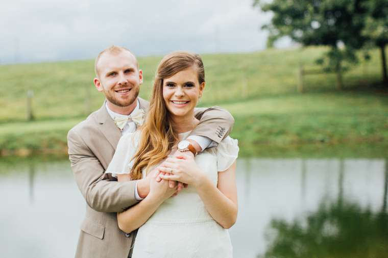 Portriat of Bride & Groom by pond at Warrenwood Manor