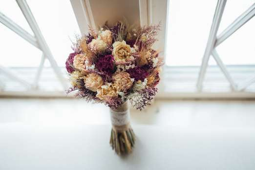 Gold, Burgandy and Ivory dried Flower Bouquet