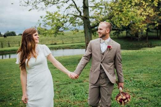 Candid Portrait of Bride & Groom at their Tasteful Fall wedding