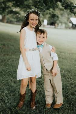 Rustic country flower girl and ring bearer at Warrenwood Manor wedding