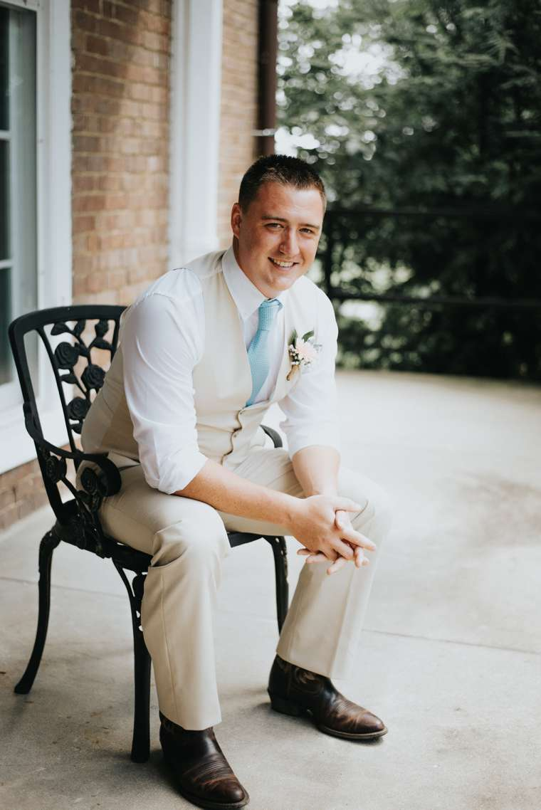 Groom dressed for southern rustic country wedding in central Kentucky