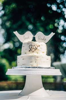 Two-tier ivory cake with love birds on top