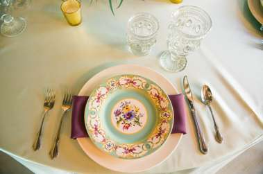 Mint, Purple & Gold Garden Inspired Table Setting