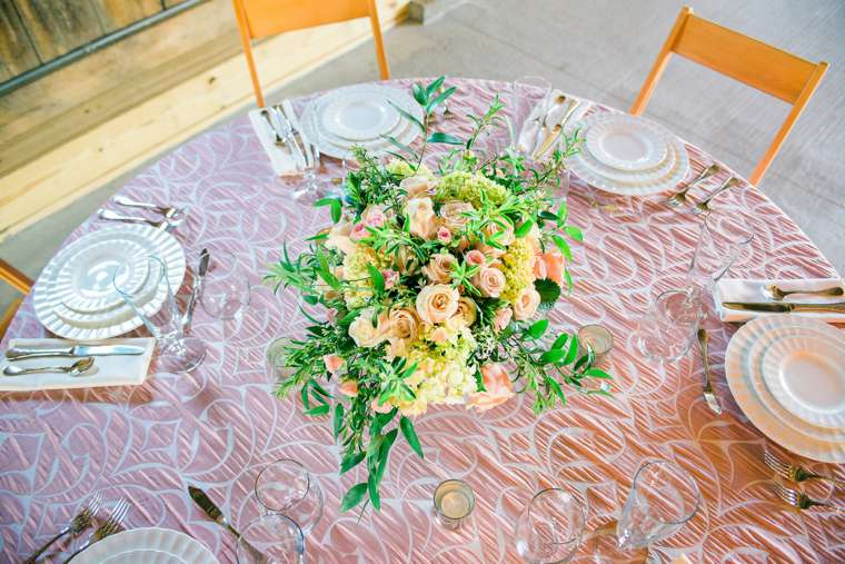 Pink and Ivory tablesetting at Warrenwood Manor Open House by Bryant's Rent-All and Stems LLC