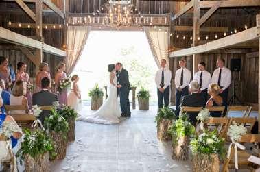 Wedding ceremony in a rustic barn