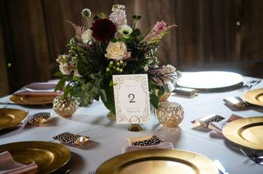Gold, pink & burgundy fall tablescape