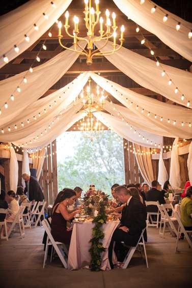 Southern glam wedding reception in Warrenwood barn