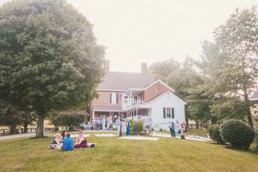 Picnic style backyard wedding reception