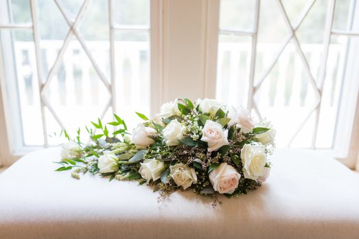 Cascade bridal bouquet of ivory and green