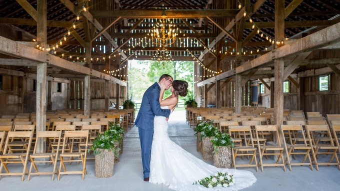 Summer Barn Wedding Ceremony, Photo by Becky Willard Photography