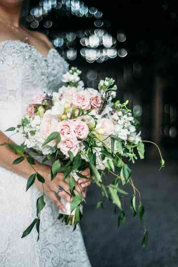 Soft white and pink bridal bouquet by Stems LLC, Photo by Grant Aumiller Photography