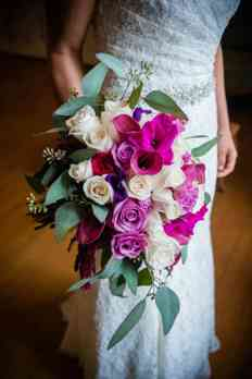 Purple and Ivory cascading bridal bouquet by Doug Smith Designs, Photo by Hilly Photography