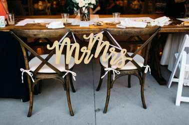 Mr. & Mrs. Sign on chairs for romantic southern wedding